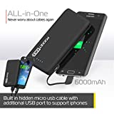Black Mini Portable Charger - 6,000mAh External Battery Pack - Ultra Slim and Light with Built-in AC Plug and Micro USB Cable - Charges iPhone, Android and More - Pocket Juice by Tzumi