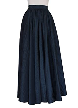 E K Women's long full circle taffeta skirt Maxi evening prom ...