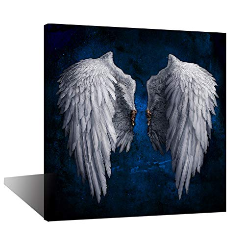 Biuteawal - Angel Wings Canvas Print Wall Art Grey Wings on Starry Background Picture Painting The Powerful Wing Home Decoration Contemporary Abstract Artwork Framed for Artistic Photo -