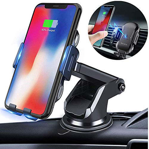 Bysionics Wireless Car Charger,Full-Automatic 10W Qi Fast Charging Qi Fast Charging Car Phone Mount,Windshield Dashboard Air Vent Compatible with iPhone Xs/Max/X/XR/8/8 Plus,Samsung S9/ S10 (Black)