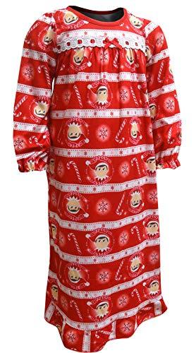 (Elf on The Shelf Girls' Little Nightgown, Peppermint Elves,)