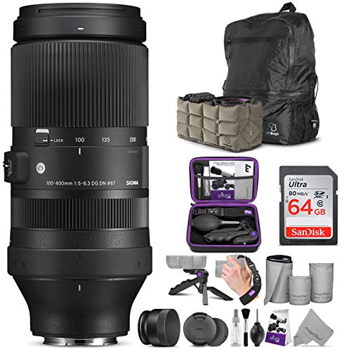 Sigma 100-400mm f/5-6.3 DG DN OS Contemporary Lens for Sony E with Altura Photo Advanced Accessory and Travel Bundle