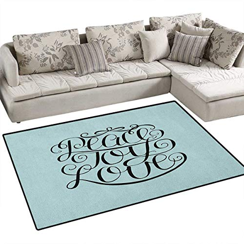 Joy,Rug,Hand Lettering Pattern Peace Joy Love Quote Pillars of Western Religious Belief,Floor Mat for Kids,Pale Blue Black Size:48