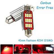 CICMOD Error Free Led Dome Festoon 4014smd 12LED No Polarity Canbus C5W 41mm Festoon Bulb For Dome,Reading,License Plate Light Red (Pack of 2)