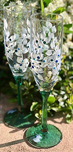 Emerald Green Champagne Glasses with Swarovski Crystals Set of 2