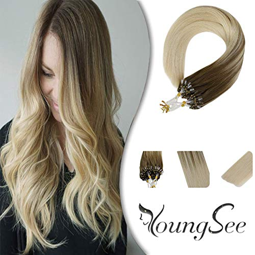 Youngsee 18inch Micro Ring Hair Extensions Human Hair Brown with Lightest Blonde Cold Fusion Micro Loop Extensions Micro Real Remy Hair 1G/Strand 50G/Pack (1 Gram Loop Extensions)