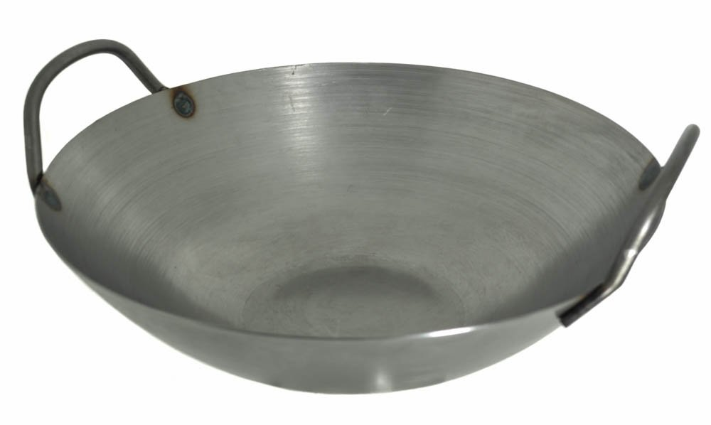 12 inches Carbon Steel Flat Bottom Wok with Two Side Handle, 14 Gauge Thickness, USA Made M.V. Trading MCSWK12FBV