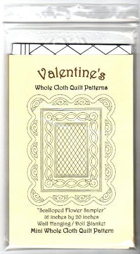 (Valentine's Whole Cloth Quilt Mini Pattern ~ 16 inches by 20 inches ~ Scalloped Flower Sampler ~ Wall Hanging Doll Blanket)