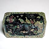 Mother of Pearl Peacock Design Lacquered Black Wooden Asian Handcrafted Secret Jewelry Trinket Keepsake Treasure Box Ring Case Chest Organizer