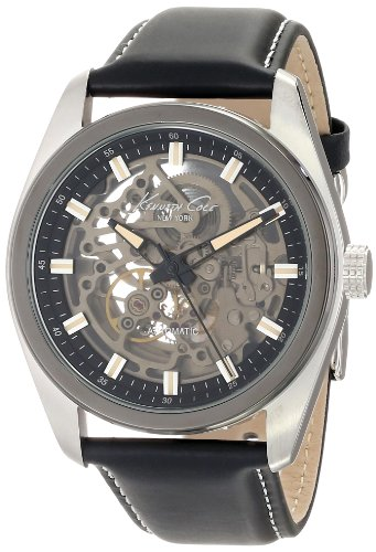 Kenneth Cole New York Men's KC8040 Automatic Round Grey Dial Ion-Plated Bezel Watch