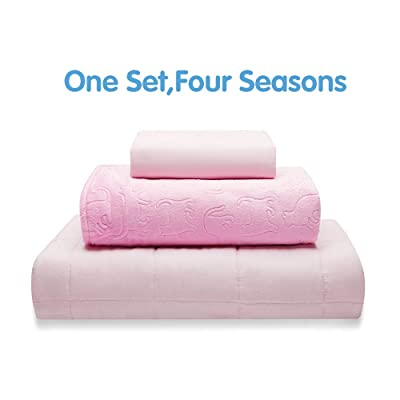 "Thirdream Cool Weighted Blanket 5lbs Kids, 3 Pieces,for All Seasons, 41""X 60"", Twin Size, with 2 Removable Washable Covers, Soft Minky Cover and Ice Silk Cover, Pink: Kitchen & Dining"