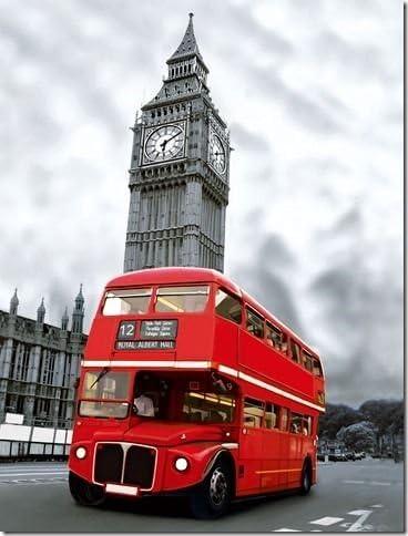 London Bus with Big Ben Blechschild Schild gewölbt Metal Tin Sign 20 x 30 cm