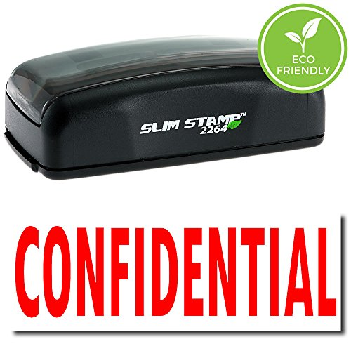 Confidential Ink Stamp - Large Pre-Inked Confidential Stamp (Red Ink)