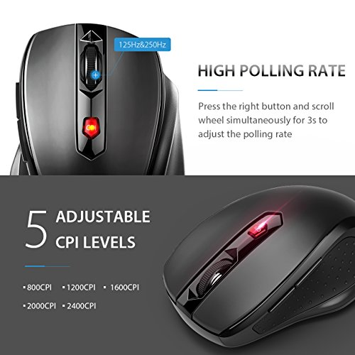 VicTsing MM057 2.4G Wireless Mouse Portable Mobile Optical Mouse with USB Receiver, 5 Adjustable DPI Levels, 6 Buttons for Notebook, PC, Laptop, Computer, Macbook - Black