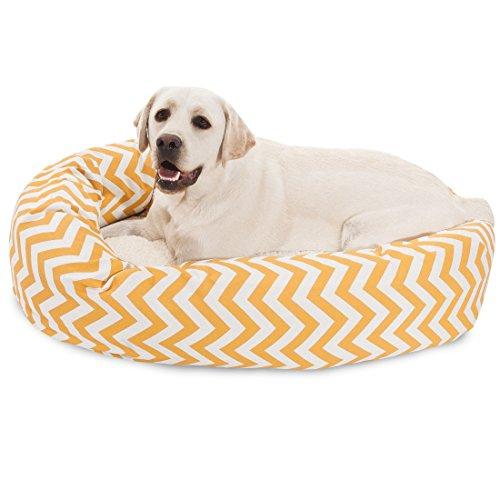 40 inch Yellow Chevron Sherpa Bagel Dog Bed