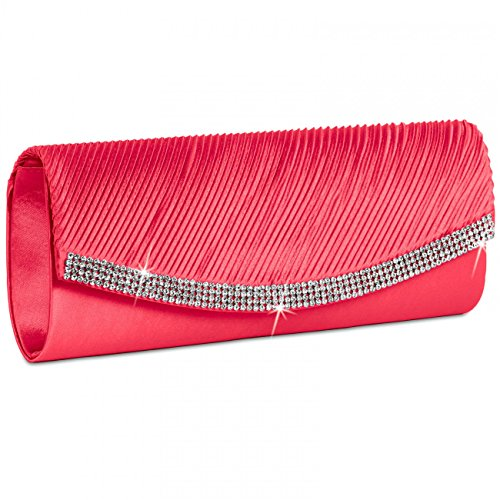 Several Holiday Handbag Caspar With Rhinestone Coral Clutch Ta291 Womens Colors Satin wSCt8qC
