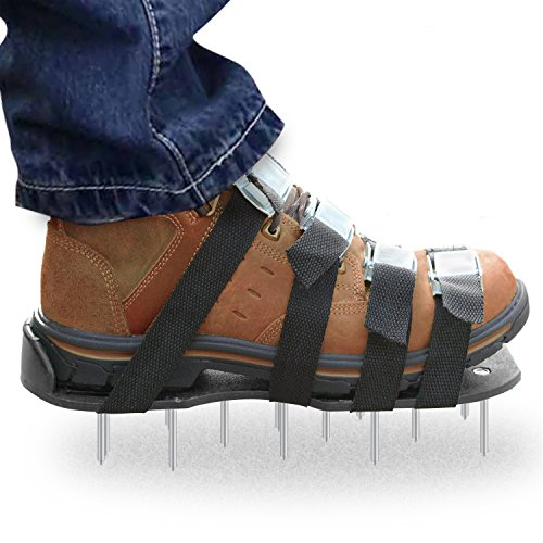 Premium Nylon ( Not Plastic ) Heavy Duty Lawn Aerator Shoes - 4 Adjustable Straps and Metal Buckles - Nylon Aerating Sandals with Zinc Alloy Buckles - Extra Spikes and Bonus Wrench Included