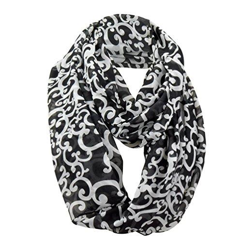 Black White Scarf (Chiffon Infinity Scarf for Women,Black & White,One Size)