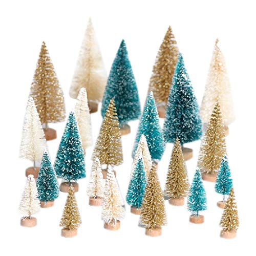 (Yalulu 24 pcs 2-5 Inch Mixed Gold/White/Green Mini DIY Christmas Tree Small Pine Tree Mini Trees Placed in The Desktop Home Decor Christmas Decoration)