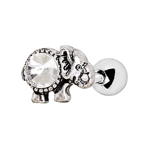 12f17fbb0 Amelia Fashion 16 Gauge CZ Set Antique Elephant Tragus/Cartilage Earring  Stud 316L Surgical Steel