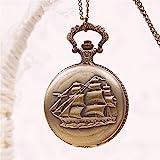 JaneDream Retro Bronze Tone Sailboat Quartz Pocket Watch Long Chain
