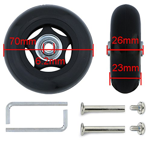Super Ma 2 Set of Replacement Luggage Suitcase Wheels with Bearings & Tools (70x26) ()