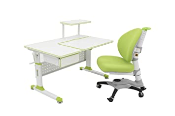 ApexDesk Little Soleil DX 43u0026quot;W Childrenu0027s Height Adjustable Study Desk  W/ Integrated Shelf