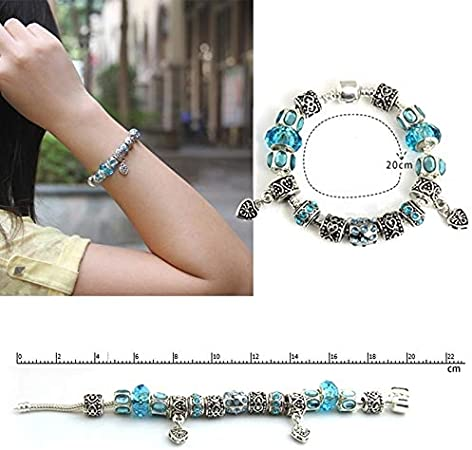 ruilinyang European Style Silver Crystal Charm Bracelet with Blue Murano Glass Beads Purple,one Size
