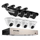 ZOSI FULL HD 1080p 8CH Security Camera System, 8 Channel 1080P Surveillance DVR with (8) HD 2.0MP 1980TVL Waterproof Bullet/Dome CCTV Cameras, 120ft/65ft night vision, NO Hard Drive