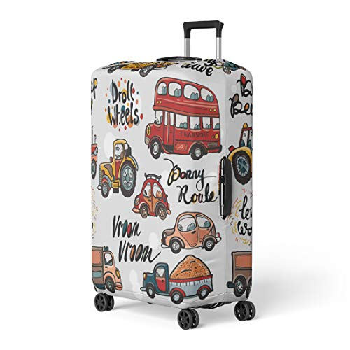 - Semtomn Luggage Cover Funny Cute Kids Toy Transport and Slogans Baby Bright Travel Suitcase Cover Protector Baggage Case Fits 22-24 Inch