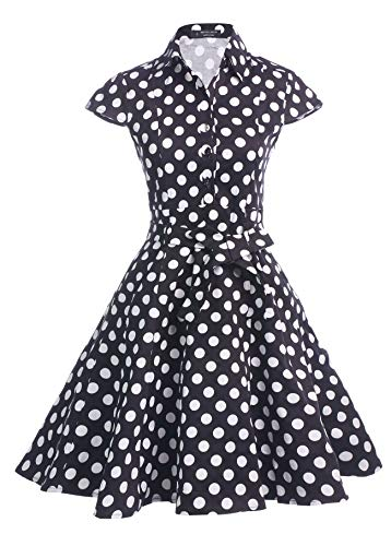 (BI.TENCON Women's Vintage 1950s Black and White Polka Dots Print Cap Sleeves Belted Retro Rockabilly Swing Dresses L)