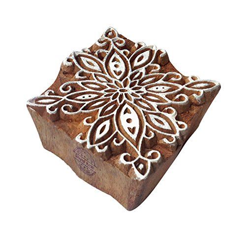 Foam Stamps Patterns (Fancy Square Flower Pattern Wooden Block Stamp)