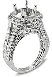 2.45 Carat (Ctw) 14k White Gold Round Diamond Ladies Bridal Semi Mount Engagement Ring (No Center Stone)