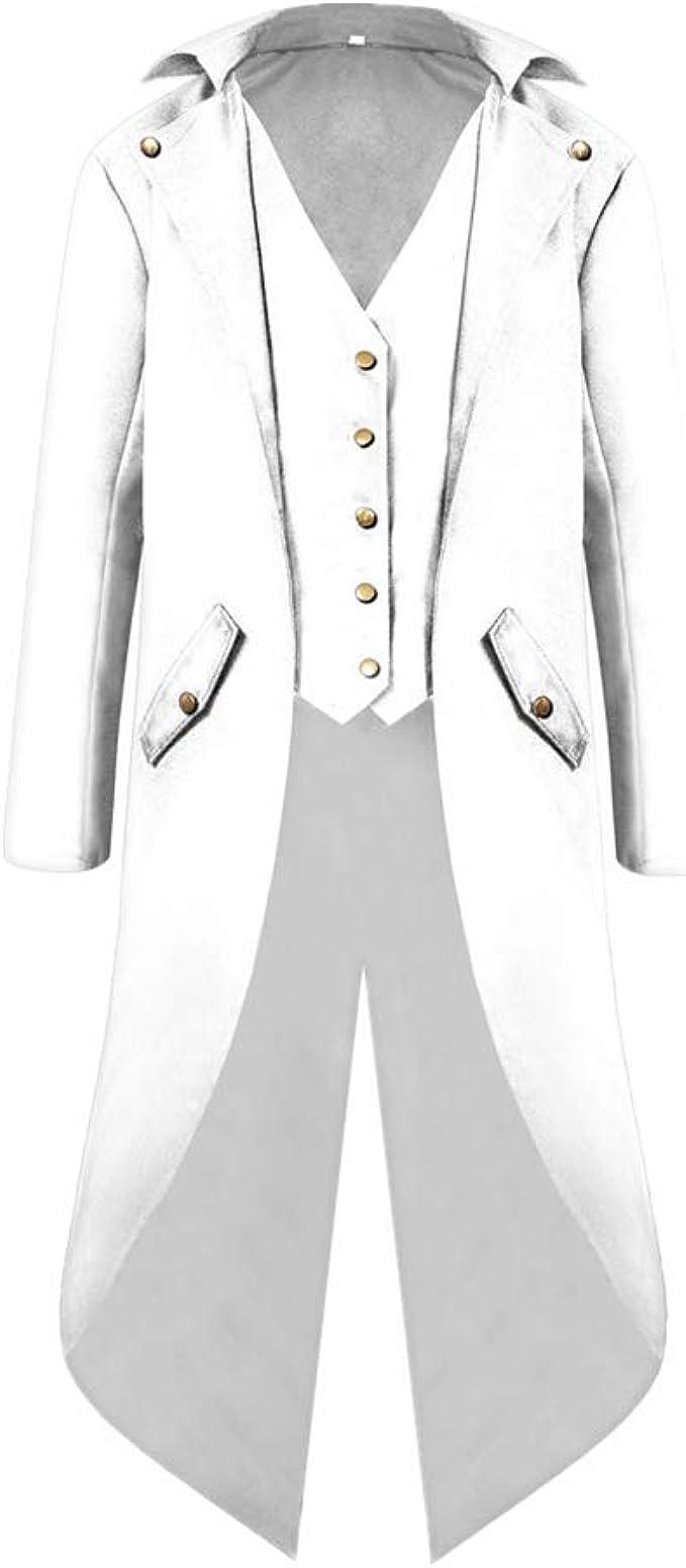 Homme R/étro Steampunk Gothique Tailcoat Couleur Unie Manches Longues Boutonn/é Col Rabattu Vintage Blazer Mariage Prom Party D/éguisement Queue de Morue Veste Costume
