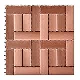Daonanba Durable 11 pcs 11.8''x11.8'' Decking Tiles WPC 11 ft² Brown Suitable for Patio/Balconies/Bathroom/Poor Spa Area