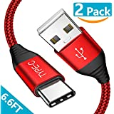 USB Type C Cable, [2Pack/6.6ft] Fisiy USB A 2.0 to USB C Fast Charging Charger Nylon Braided Samsung Galaxy S9 S8 Plus Note 8, LG V20 V30 G5 G6, Goolge Pixel XL, Moto Z Z2, Nintendo Switch (Red)