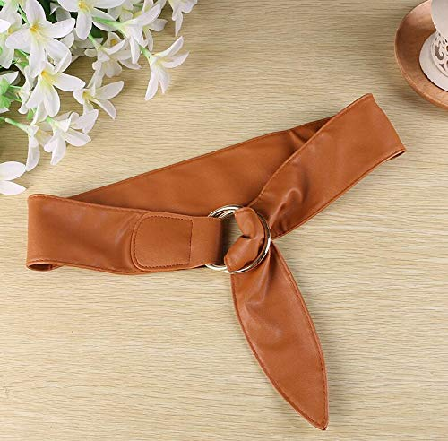 DeemoShop Newest Design Belt Soft Leather Wide Belts for Women Waist Belt Strap Gold Double Big Circle Buckle Lady Dress Closure Coat Gift