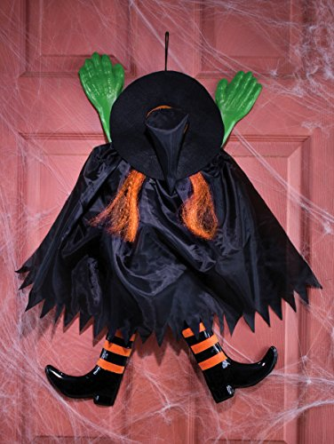 Fun World Funny Backwards Witch Orange Hanging Halloween Decoration ()