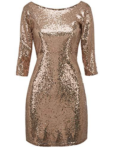 (Regna X Sexy Bandage Bodycon Clubwear midi Sequin Dresses for Women Gold S)