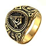 MoAndy Men Stainless Steel Vintage Retro Gold Individual Masonic Ring 3CM Size 7