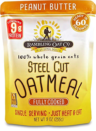 Cooked Breakfast - Rambling Oat Company Fully Cooked Steel Cut Oatmeal - High Protein Peanut Butter (8 Pouches)