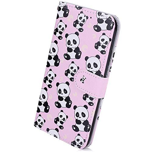 Herbests Kompatibel mit Xiaomi Redmi 7 Handyhülle Lederhülle Retro Bunt Ledertasche Brieftasche Schutzhülle Klapphülle Kartenfach Bookstyle Handytasche Etui mit Magnet,Cute Panda