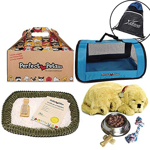 Perfect Petzzz Golden Retriever Plush with Blue Tote For Plush Breathing Pet, Dog Food, Treats, Chew Toy and Drawstring Bag (Husky Puppies For Sale Under 100 Dollars)