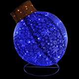 Northlight Pre-Lit Twinkling LED Blue Glitter Christmas Yard Art Decoration Ball Ornament, 36''