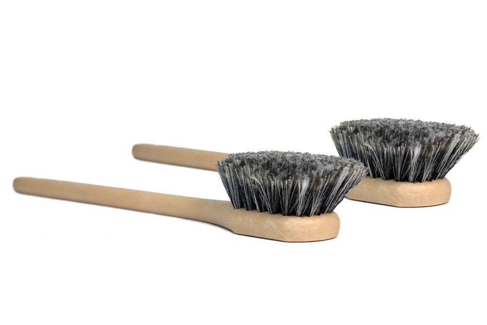 CARCAREZ 20'' Long Wheel Brush for Auto Car Vehicle Truck Motorcycle Tire Cleaning, Grey, Pack of 2
