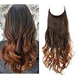 SARLA Ombre Halo Hair Extensions Long Wavy Curly Synthetic Hair Piece for Women Dark Brown to Copper Auburn Adjustable Size Transparent Wire Headband Heat Friendly Fiber 22 Inch 5.3 Oz No Clip