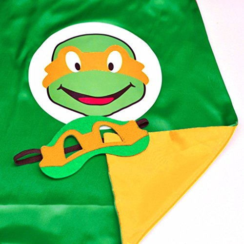 Mask Michelangelo Kids Costumes (Superhero or Princess CAPE & MASK SET Kids Childrens Halloween Costume (Turtle Orange (TMNT)