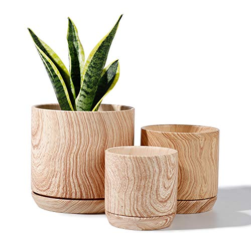 POTEY 053112 Ceramic Pots for Plants – Wooden Pattern Cylinder Planter for Indoor Plants Flower Succulent with Drainage…