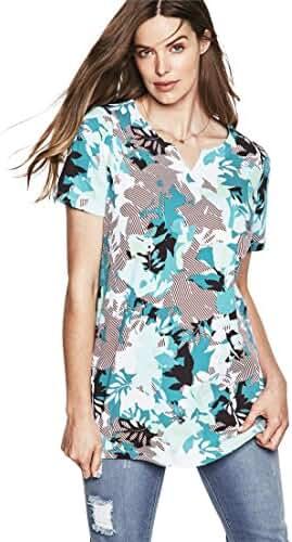 Roamans Women's Plus Size Notch Neck Tunic - Prints