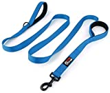 Dog Leash 2 Handles - BLUE - Extra Long 8ft Lead - Heavy Duty - Double Handle for Leads - Control Safety Training - Leashes for Medium or Large Dogs - Dual Two Padded Handles - Protect Dog in Traffic